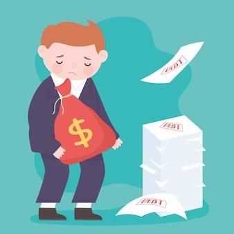 El hombre de negocios triste de la quiebra sostiene la crisis financiera del negocio de los papeles de la deuda del dinero del bolso