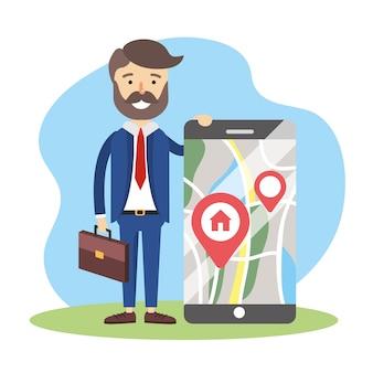 Hombre de negocios con ubicación de mapa de teléfono inteligente para la venta de casa