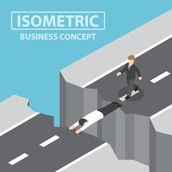 El hombre de negocios se usa a sí mismo como un puente