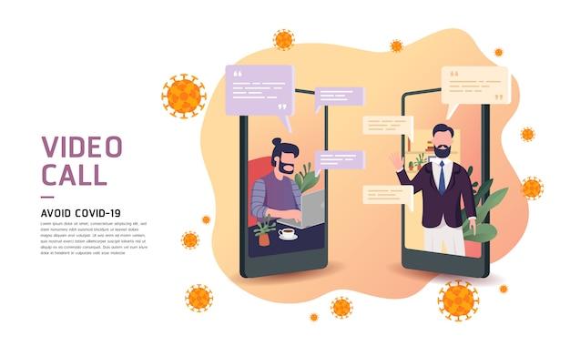 Hombre de negocios usando la llamada de video del teléfono inteligente en los teléfonos para evitar y proteger el virus