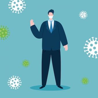 Hombre de negocios usando mascarilla con partículas 2019-ncov