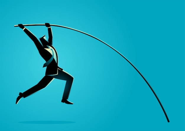 Hombre de negocios usando salto con pértiga