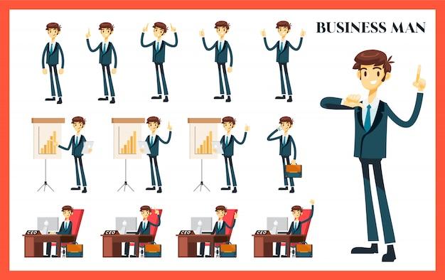 Hombre de negocios con variación de pose