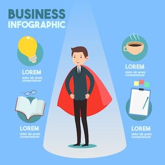 Hombre de negocios con vector de infografía idea