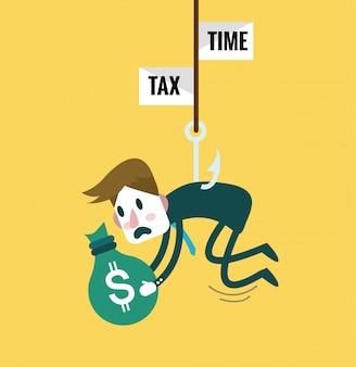 Hombre de negocios vinculado con gancho de pesca de impuestos. concepto de abandono de impuestos elementos de diseño plano. ilustración vectorial