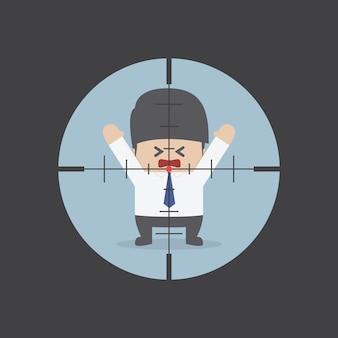 Hombre de negocios en la vista del rifle