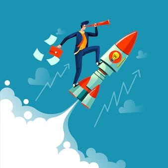 Hombre de negocios volando en concepto de negocio de cohete