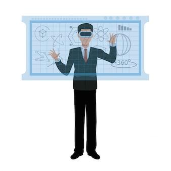 Hombre de negocios, vr, gafas, interacción