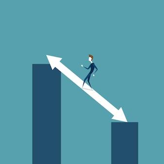 Hombre de negocios walking on chart bar en flecha encima del concepto del desarrollo del crecimiento