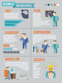 Hombre de negocios working infographics