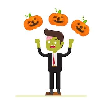 Hombre de negocios del zombi en traje que hace juegos malabares con la calabaza