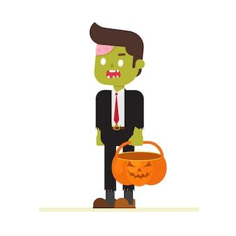Hombre de negocios zombie de halloween