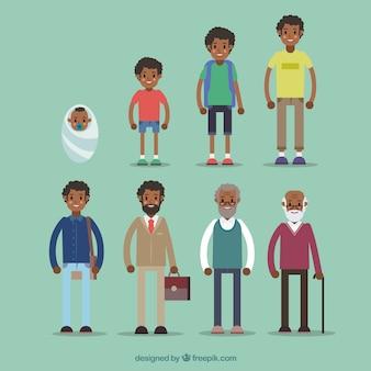 Hombre negro en diferentes edades