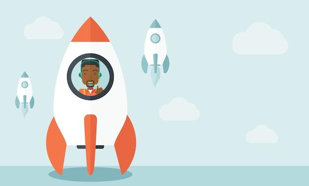 Hombre negro en el inicio de negocios en línea