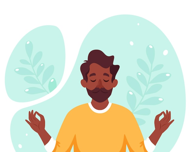 Hombre negro meditando. estilo de vida saludable