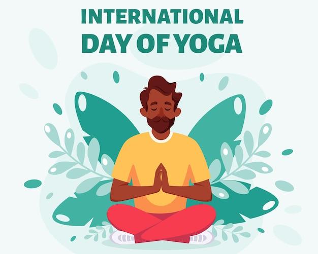 Hombre negro meditando en postura de loto día internacional del yoga