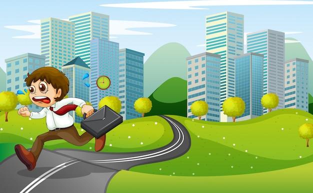 Un hombre nervioso corriendo con una maleta