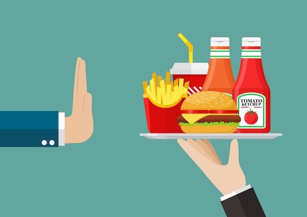 El hombre se niega a comer comida rápida. estilo plano