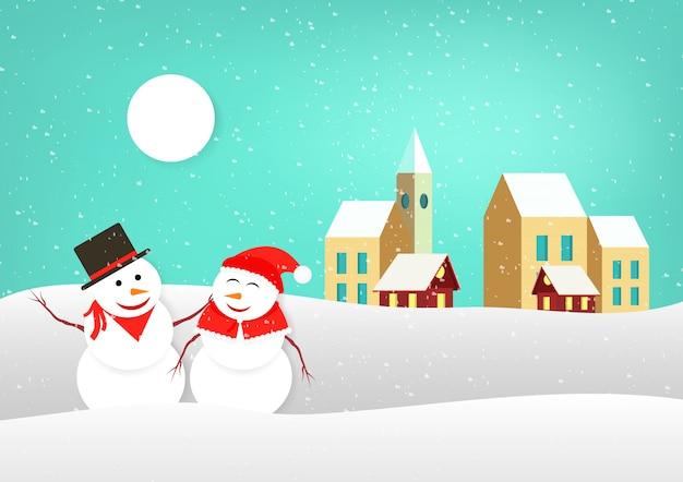 Hombre de nieve mujer de nieve. pueblo con árbol de navidad, navidad santa claus con ciervos. muchos