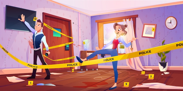 Hombre y niña en búsqueda de sala de escape con escena del crimen