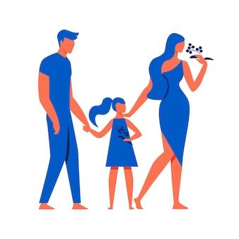 Hombre con niña y mujer sobre fondo blanco.