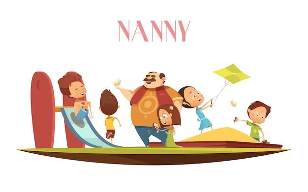 Hombre niñera con ilustración de dibujos animados de niños