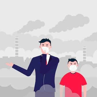 Hombre y niño confundidos con máscaras contra el smog polvo fino contaminación del aire protección contra el smog industrial