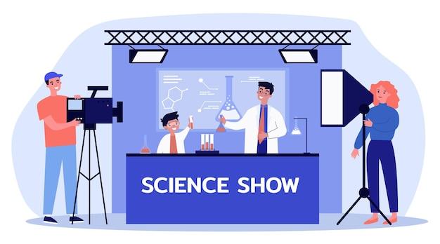 Hombre y niño disparando espectáculo de ciencia para niños ilustración plana