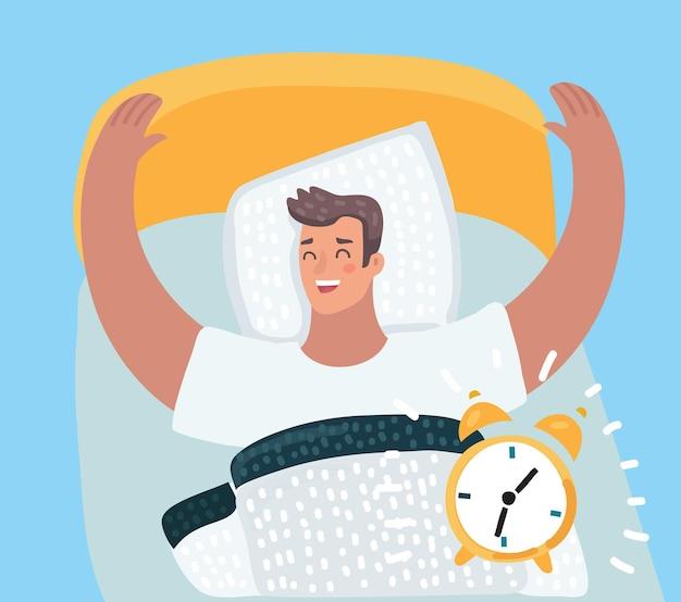 Hombre no se despierte con el sonido del despertador