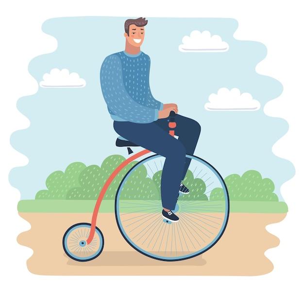 Un hombre no identificado montando una bicicleta pennyfarthing en un parque con hojas de otoño caídas
