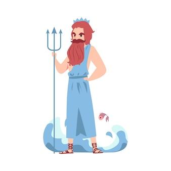 Hombre o dios griego poseidón está sosteniendo tridente