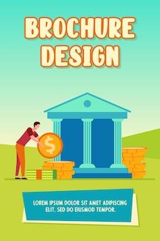 Hombre obteniendo un préstamo. edificio del banco, ahorro, efectivo ilustración vectorial plana