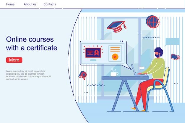 El hombre obtiene el diploma en la página de inicio del curso profesional a distancia