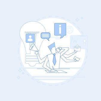 Hombre ocupado de negocios multitarea gerente
