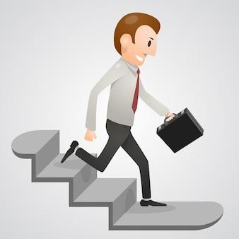 Hombre de oficina corriendo arte de la planta baja. ilustración vectorial