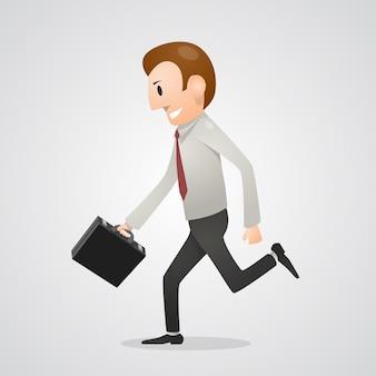 Hombre de oficina corriendo gente de arte. ilustración vectorial