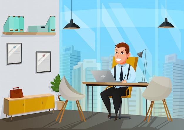 Hombre, en, oficina, ilustración