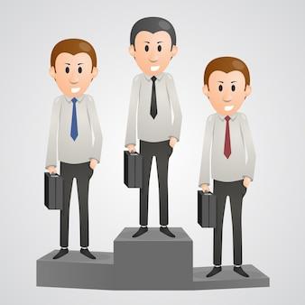 Hombre de oficina en un líder de pedestal. ilustración vectorial