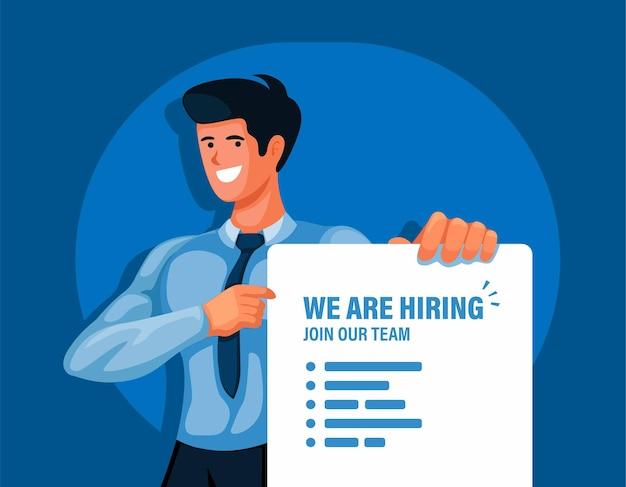 Hombre de oficina sosteniendo estamos contratando vector de ilustración de tablero de información de reclutamiento de empresa