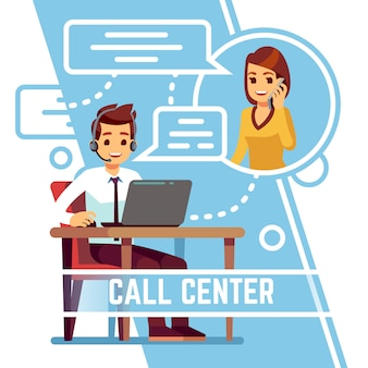 Hombre operador hablando con feliz cliente sonriente en el teléfono. partidario en auriculares consultoría al cliente. ilustración vectorial de dibujos animados