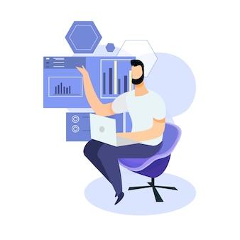Hombre con ordenador portátil análisis gráfico.