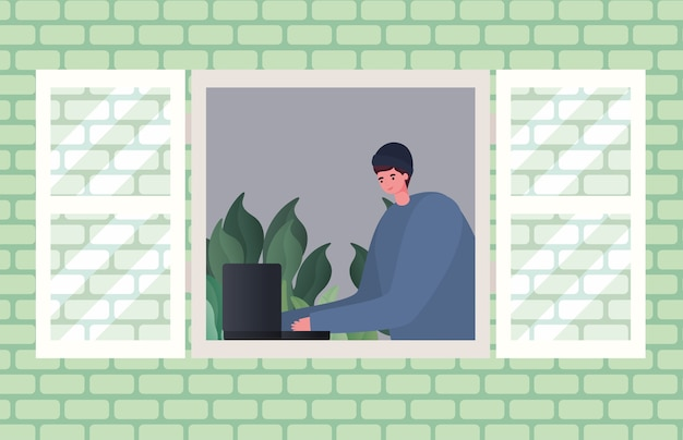 Hombre con ordenador portátil trabajando en el diseño de la ventana del tema trabajo desde casa