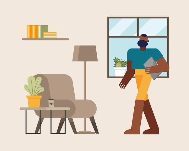 Hombre con ordenador portátil trabajando desde el hogar diseño de ilustración de vector de tema de teletrabajo
