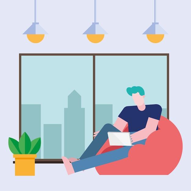 Hombre con ordenador portátil trabajando en puf desde el diseño del hogar del tema de teletrabajo ilustración vectorial