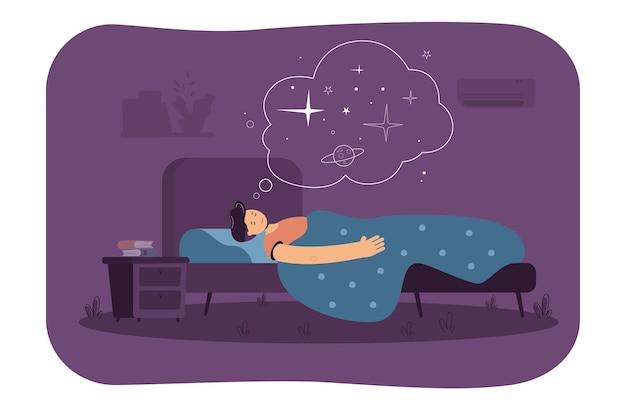 Hombre pacífico durmiendo en el dormitorio, descansando en la cama, soñando con el espacio. ilustración de dibujos animados