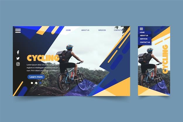 Hombre en página de aterrizaje de bicicleta