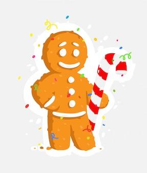 Hombre de pan de jengibre con bastón de caramelo.