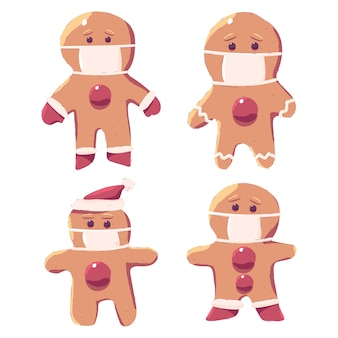 Hombre de pan de jengibre en conjunto de personajes de dibujos animados de máscara médica