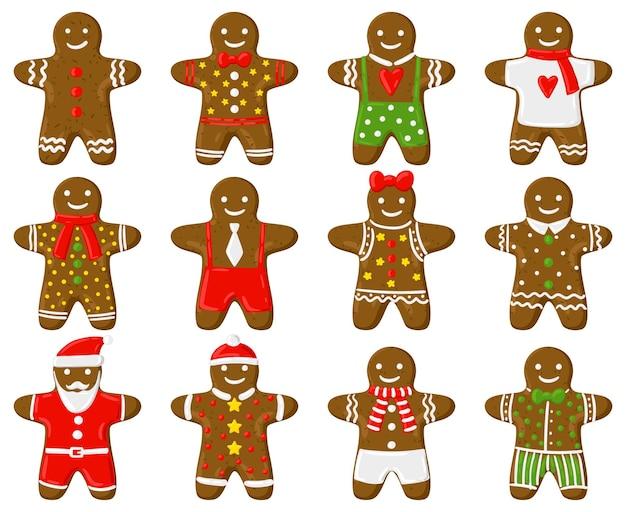 Hombre de pan de jengibre de vacaciones tradicionales de navidad galletas de jengibre conjunto de vectores de dibujos animados