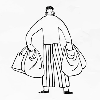 Hombre de pánico acumulando comida durante la pandemia de coronavirus vector de elemento de doodle